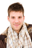 Picture of a young man dressed with winter clothes, isolated — Stock Photo