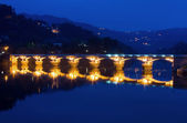 Bridge of Geres national park at night, north of Portugal — Stock Photo