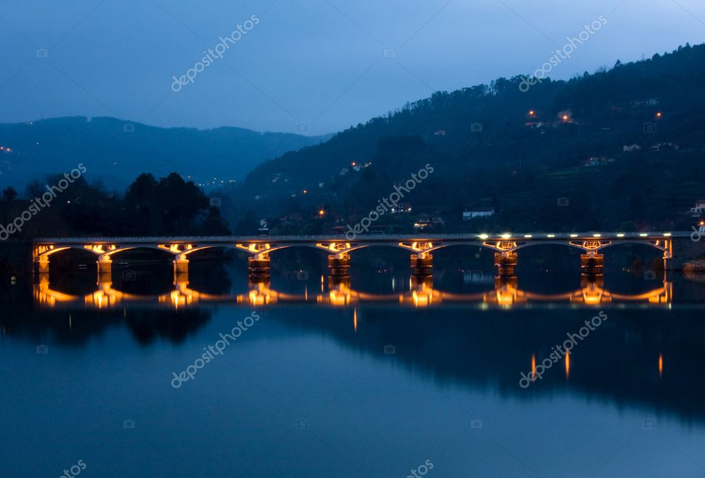 Bridge of Geres national park at night, north of Portugal — Stock Photo #4723292