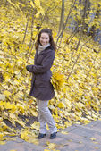 Young woman in the autumn park — Stock Photo