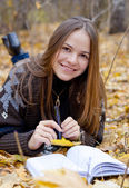 Portrait of brown-haired girl — Stock Photo