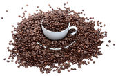 Too much coffee in a cup isolated over a white background — Stock Photo