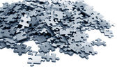 Elements of a blue puzzle — Stock Photo