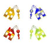 Portachiavi colorati con casa — Foto Stock