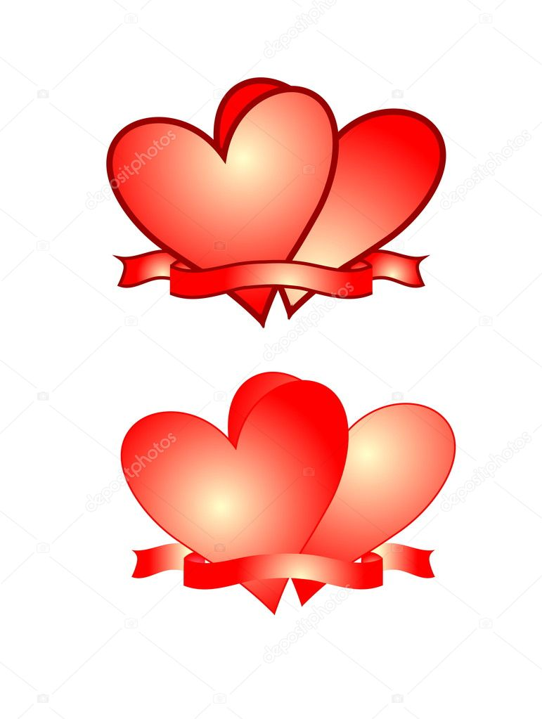 Pictures with red hearts in two versions with and without border.  Stock Photo #4799360