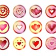 Buttons with hearts — Stockfoto