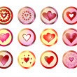 Buttons with hearts — Stock Photo