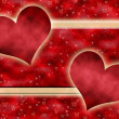 Red background with hearts — 图库照片