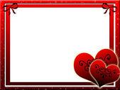 Červený rámeček pro se dvěma srdce — Stock fotografie