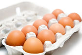 Ten eggs in a carton on the isolated background — Stock Photo