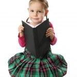 Preschool girl with book — Stock Photo