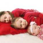 Sleeping sisters waiting for Christmas — Stock Photo