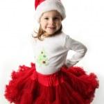 petite fille portant Noël pettiskirt rouge et chapeau de santa — Photo
