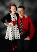 Daddy and daughter dressed up — Stock Photo