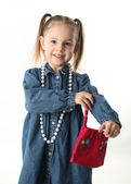 Preschool girl playing dress up — Stock Photo