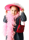 Preschool girl playing dress up — Stock Photo