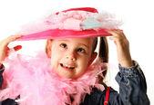 Funny preschool girl playing dress up — Stock Photo