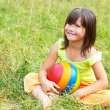 Stock Photo: Child sits on grass