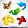 Set of Shiny 3D Arrows - Stock Vector