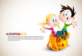 Cute Boy and Girl sitting on School Backpack — Vector de stock