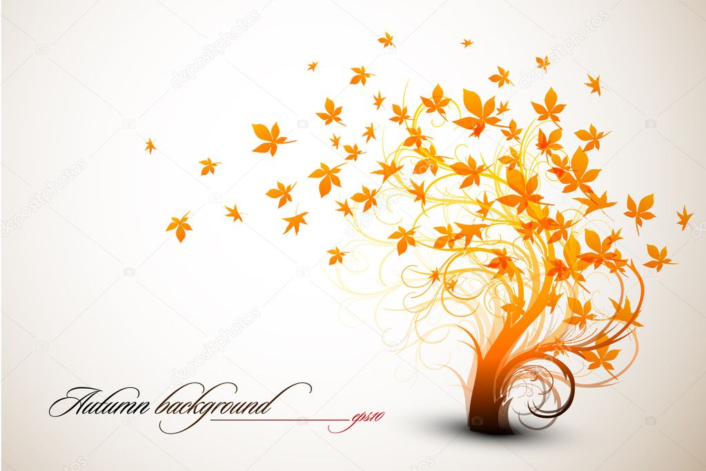 Autumn Tree | Clean Vector Composition - EPS10 Compatible — Imagens vectoriais em stock #4126911