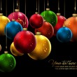 Many Christmas Balls with Shiny Water Drops - Stock Vector