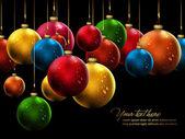 Many Christmas Balls with Shiny Water Drops — Stock Vector