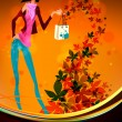 Stock Vector: Autumn Shopping with Beautiful Woman