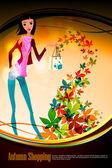 Herbst-shopping mit schöne frau — Stockvektor