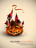 Halloween Castle Grown on a Pumpkin — Stockvector