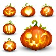 Stock Vector: Spooky Vector Pumpkin Set - Different Facial Expressions