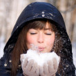 Girl with snow — Stock Photo