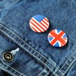 Stock Photo: US and UK Buttons on Denim Jacket