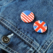 US and UK Buttons on a Denim Jacket — Foto de Stock