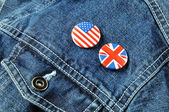 US and UK Buttons on a Denim Jacket — Stock Photo