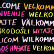 Multilingual Welcome Sign — Stock Photo