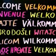 Stock Photo: Multilingual Welcome Sign