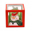 Red candlestick with the snowman and green candle — Stock Photo