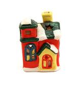 Ceramic candlestick multi-colored small house — Stock Photo