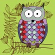 Funny owl cartoon - Stock Vector
