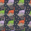 Seamless pattern with cat - Stock Vector