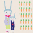 Bunny Family - Stock Vector