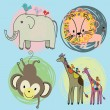 Cute safari animals set — Stockvektor
