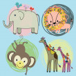 Cute safari animals set - Stock Vector
