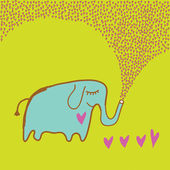 Funny elephant in love — Stock Vector