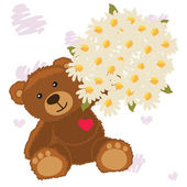 Bear with a bouquet — Stock Vector