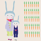 Bunny Family — Stock Vector