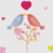 Nice beautiful birds in love. — Stock Vector