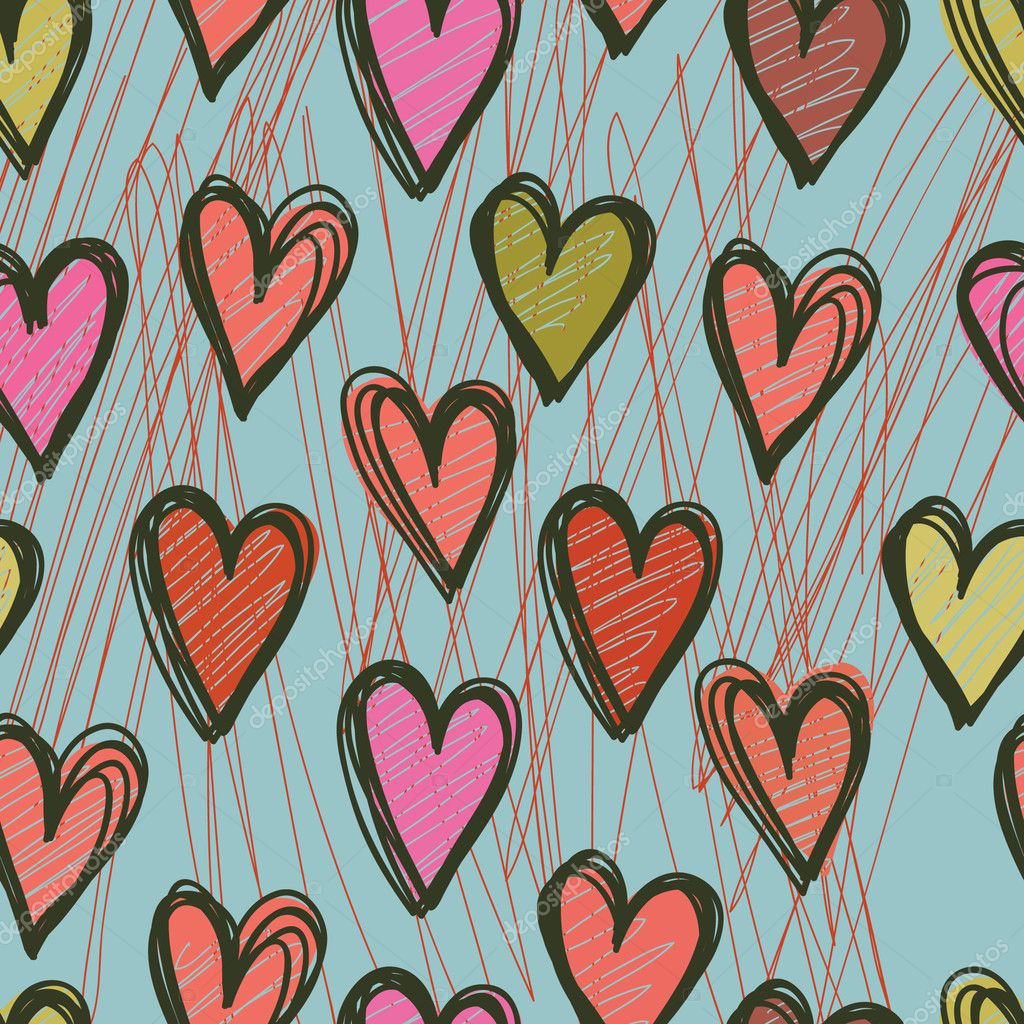 Vector seamless pattern with hearts  — Vettoriali Stock  #4151688