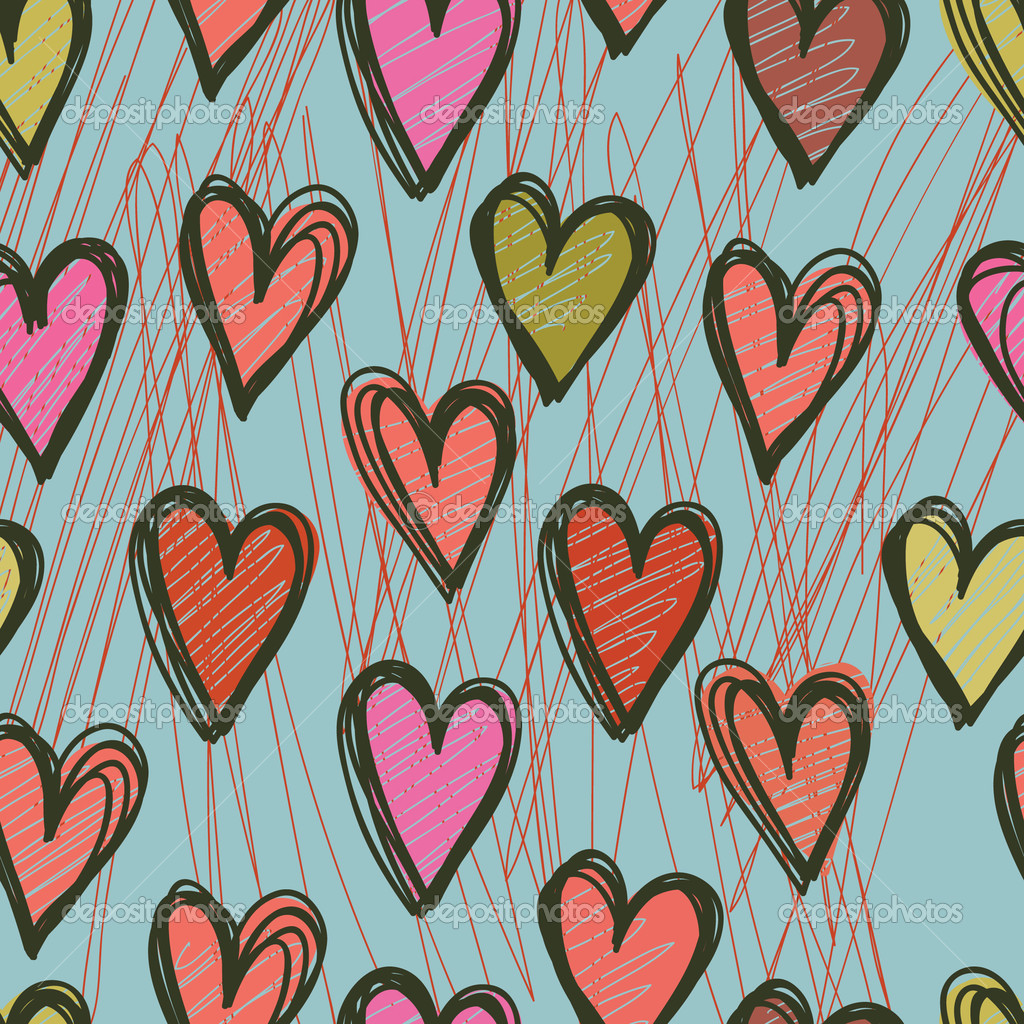 Vector seamless pattern with hearts   Stockvectorbeeld #4151688